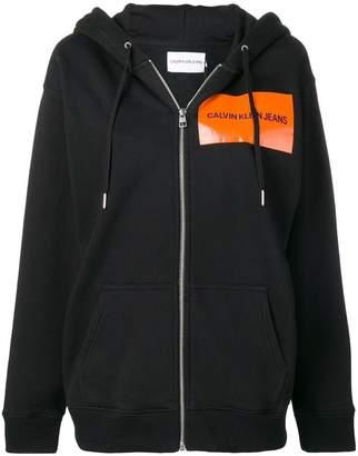 Calvin Klein Jeans zipped logo printed hoodie