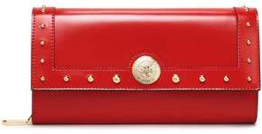 Balmain Studded Glossed-leather Wallet