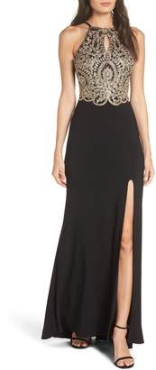 Blondie Nites Embellished Applique Halter Gown