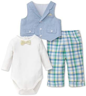Little Me 3-Pc. Cotton Bodysuit, Vest & Pants Set, Baby Boys