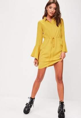Missguided Mustard Tie Waist Shirt Dress
