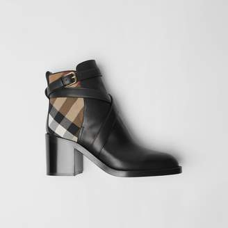 Burberry House Check and Leather Ankle Boots , Size: 39, Black