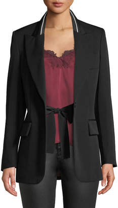 Stella McCartney Tie-Waist Boyfriend-Fit Wool Blazer w/ Piping
