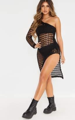 PrettyLittleThing Black Ladder Crochet Asymmetric Dress