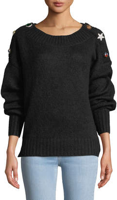 Veronica Beard Chase Button-Shoulder Alpaca Sweater
