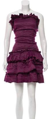 Lanvin Ruffle-Trimmed Mini Dress Purple Ruffle-Trimmed Mini Dress