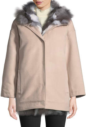 Belle Fare Detachable Fur-Lined Hooded Wool Jacket