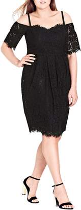 City Chic Amour Cold Shoulder Lace Sheath Dress