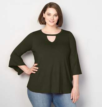 Avenue Keyhole Bell Sleeve Top