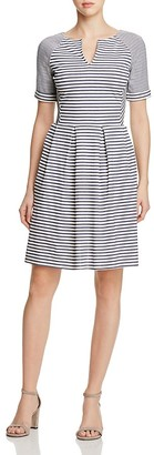 Three Dots Multi Stripe Pleated Dress $148 thestylecure.com