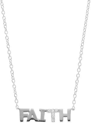 """Love This Life Sterling Silver Cubic Zirconia """"Faith"""" Necklace"""