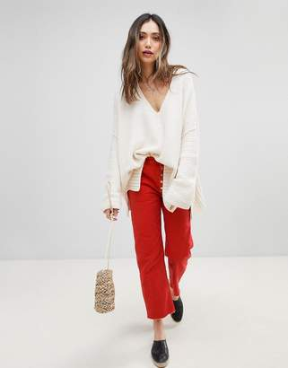 Free People Rolling On The River Distressed Straight Cropped Jeans