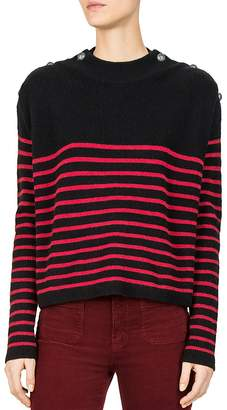 The Kooples Striped Button-Detail Cashmere Sweater