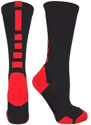Pure Aid Men\'s Dri-Fit Cushioned Athletic Sports Arch Support Compression Crew Socks (Black & Red)