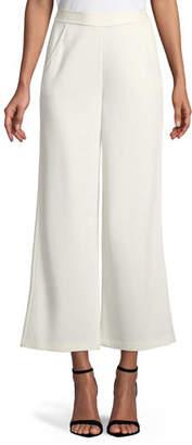 St. John Milano Knit Wide-Leg Cropped Pants
