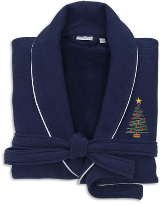 Asstd National Brand Linum Home Hotel 100% Turkish Cotton Waffle TerryEmbroidered Bathrobe with Satin Piped Trim - X'MasTree