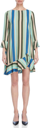 Liviana Conti Striped Asymmetrical Shift Dress