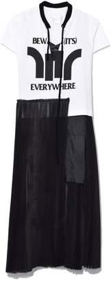 Sacai Beware Dress in White/Black