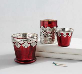 Pottery Barn Red Madeline Mercury Glass Votive Holders - Set of 3