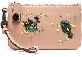 Coach Embellished Leather Pouch