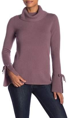 Sofia Cashmere Cashmere Tie Flare Turtleneck Sweater