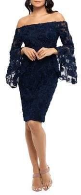 Xscape Evenings Off-the-Shoulder 3D Floral Dress