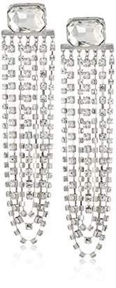 Steve Madden Women's Emerald Post with Rhinestone Chain Silver-Tone Chandelier Earrings