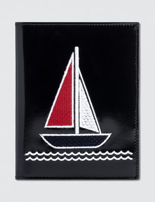 Thom Browne Calf Leather Embroidered Passport Holder $480 thestylecure.com