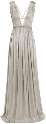 Jonathan Simkhai Plisse Lame Grecian Gown