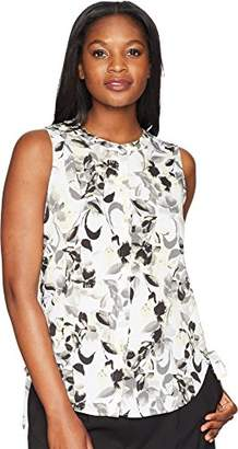 Ellen Tracy Women's Sleeveless Ruched Blouse