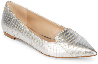 Karl Lagerfeld Paris Nenna Snakeskin-Embossed Leather Flat