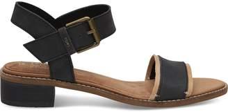 Toms Black Leather Women's Camilia Sandals
