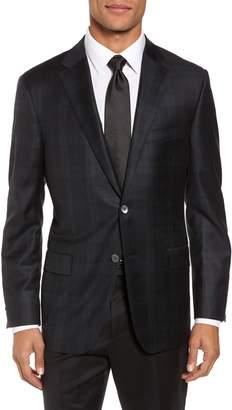 Hickey Freeman Classic B Fit Plaid Wool Dinner Jacket