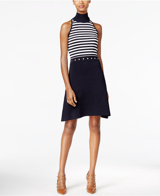 MICHAEL Michael Kors Striped Embellished Fit & Flare Dress $175 thestylecure.com