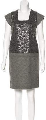 Les Copains Sequin-Paneled Wool Dress