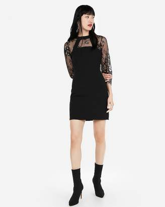 Express Three-Quarter Sleeve Lace Sheath Dress