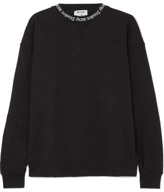 Acne Studios Yana Intarsia-trimmed Cotton-jersey Sweatshirt - Black