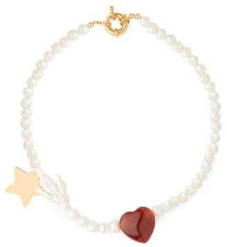 Timeless Pearly - Heart Charm Pearl Necklace - Womens - Pearl