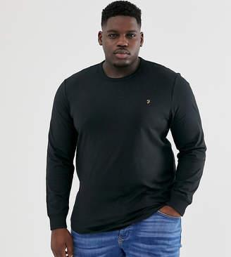 Farah Dennis slim fit long sleeve logo t-shirt in black