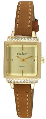 Peugeot Women's 14K Gold Plated Small Petite Faceted Crystal Thin Tan Beige Brown Suede Band Luxury Watch 3047G