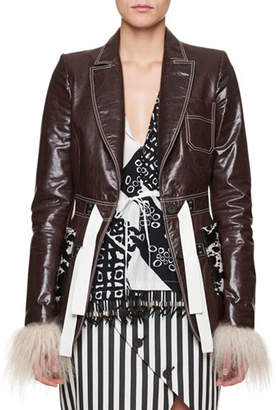 Altuzarra Bastille Cow-Patch Leather Jacket with Shearling Cuffs