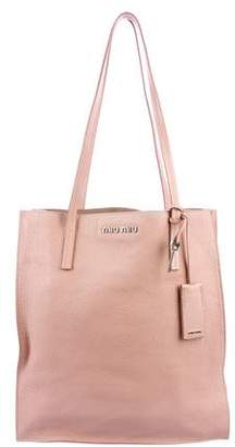 Miu Miu Leather Shopper Tote