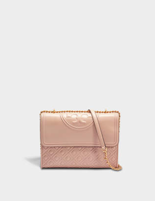 Tory Burch Fleming Convertible Shoulder Bag in Mink Lambskin Leather