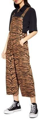 Topshop Tiger Print Wide Leg Raw Hem Cotton Overalls
