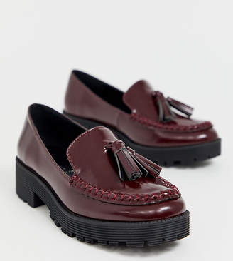 London Rebel wide fit chunky tassel loafers in oxblood