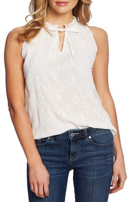 Cynthia Steffe CeCe by Ruffle Detail Tie Neck Embroidered Sleeveless Blouse