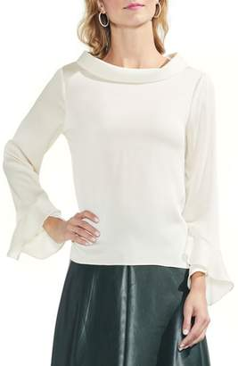 Vince Camuto Flutter Cuff Hammered Satin Blouse