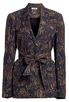 AMUR Women's Payton Belted Floral Paisley Jacket