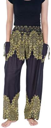 Lannaclothesdesign Womens Smocked Waist Harem Boho Pants Floral Rayon Print (S, )