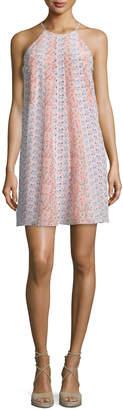 Rebecca Taylor Amanda Floral Silk Shift Dress, Peach Tint